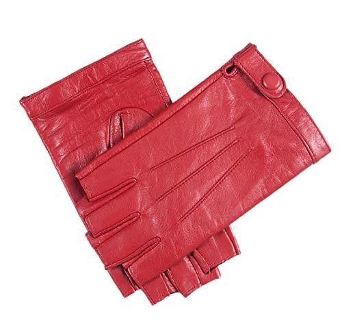YISEVEN Guanti in pelle di agnello senza dita donna Sottili sfoderati per guida motociclistica Protezione da lavoro invernale con pelle di prima qualità, rosso medio