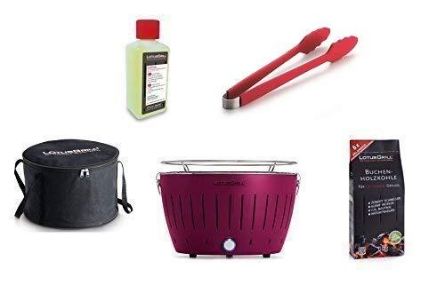 LotusGrill kit débutant 1x LotusGrill Prune-pourpre 1x Charbon de bois de hêtre 1kg,1x Pâte brûlante 200ml,1x Pinces à saucisses Rouge,1x sac de Transport le barbecue à charbon de bois sans fumée/