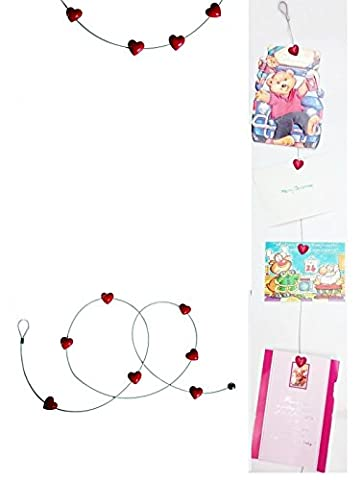 Steel Wire Photo holder With 8 Heart Magnets Display Picture Card Memo Note Wall Hanger Decorations Garland Memories Love Valentines Gift