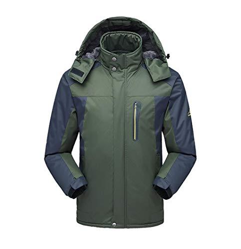 Herren Wasserdichte Jacke, Plus Samt Verdickung Reisejacke, Berg Skifahren Outdoor Bergsteigen Kleidung (Farbe : Green, größe : L)