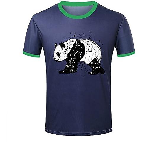 Mens Panda bear animal ringer t-shirt tops contrast colour tee