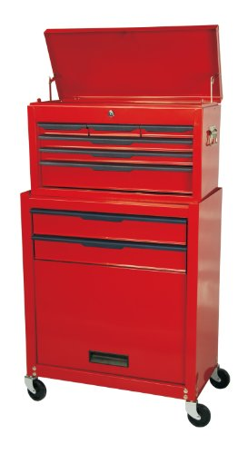 TNT-ProTools Kombination Werkzeugtrolley und Aufsatzschrank 8 Schubladen Werkzeugkoffer Werkzeugbox...