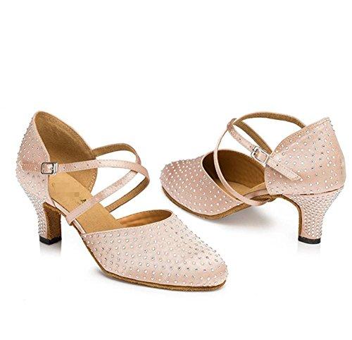 donne sandali salsa latino samba tango ballroom chiuso toe heel alce tessuto in pelle suede soft soles fibbia dance shoes tono della pelle A