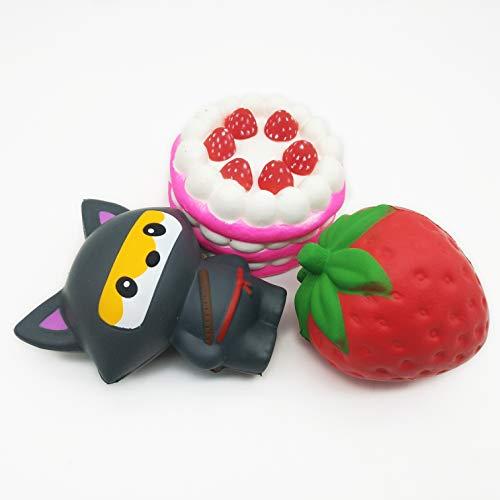 BeSquared Langsam aufsteigende und duftende Kawaii Squishies Variety Pack von 3 mittleren und großen Squishy - Sensory Toy für Erwachsene und Kinder (Mischen und Anpassen) -