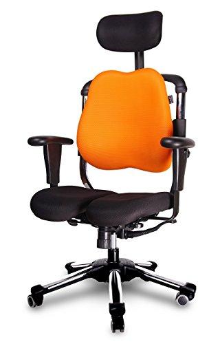 Neu HARASTUHL® Druckentlastung der Bandscheiben und verbesserte Gesäß Durchblutung. Modell: ZEN Farbe: Orange - Schwarz