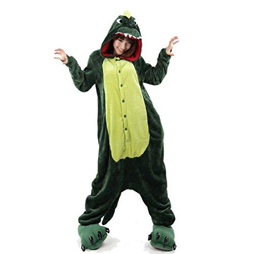 Kenmont Pyjama Deguisement Combinaison Adulte Anime Animaux Cosplay Halloween Costume Tenue Noël - Vert Dinosaures - Medium