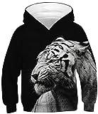 Ocean Plus Jungen Kapuzenpullover Bunt Teens Hoodie Kinder Langarm Pulli mit Kaputzen Sweatshirt Pullover (S (Körpergröße: 116-125cm), Weißer Tiger auf Schwarz)