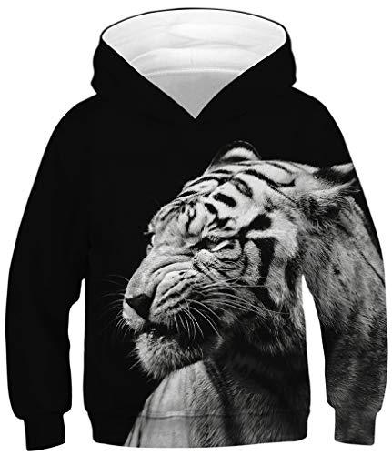 Ocean Plus Jungen Kapuzenpullover Bunt Teens Hoodie Kinder Langarm Pulli mit Kapuzen Sweatshirt Pullover (M (Körpergröße: 135-140cm), Weißer Tiger auf Schwarz) (Plus Größe Kinder)