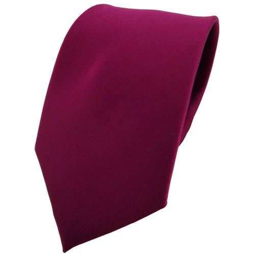 TigerTie Krawatte in violett bordeauxviolett einfarbig - 100% Polyester - Tie Binder