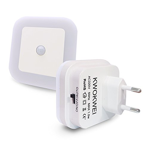 Warmweiß, LED Nachtlicht mit Bewegungsmelder und Helligkeitssensor, KWOKWEI LED Nachtlichter mit Integriertem Dämmerungssensor, Infrarotsensor Orientierungslicht, 3 Modi Energiesparsam Stimmungslicht -
