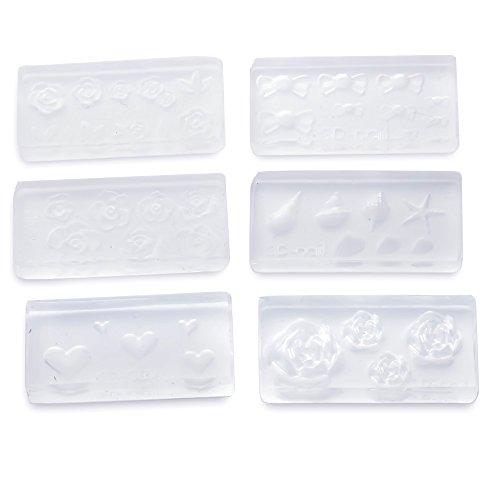 Vococal® 6Pcs Différents Styles Réutilisables 3D Moule Transparent Acrylique pour Bricolage Nail Art Design-Outils de Décoration