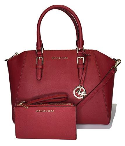 Michael Kors Ciara Umhängetasche, groß, Jet Set Reisetasche, Doppelreißverschluss, Rot (scharlachrot), Large