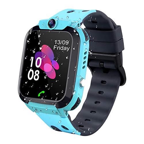 Niños Smartwatch - Reloj de Pulsera Inteligente con Ubicación LBS Reloj Despertador SOS Reloj Digital Cámara Juegos para Niños compatibles iOS/Android(Azul)