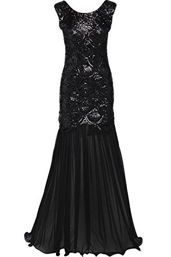 Babeyond Damen 1920s Stil Lange Kleider voller Pailletten Runder Ausschnitt The Great Gatsby Frauen Kostüm Kleid Abbildung 2