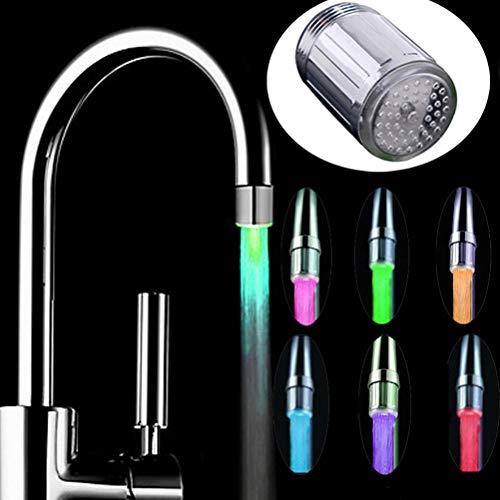 Comtervi Wasserhahn Bad Waschbecken Beleuchtung Wasserfall Auslauf Waschtischarmatur Glas Mischer Spüle Waschtisch Einhebelmischer für Badezimmer 7 Farbewechsel -