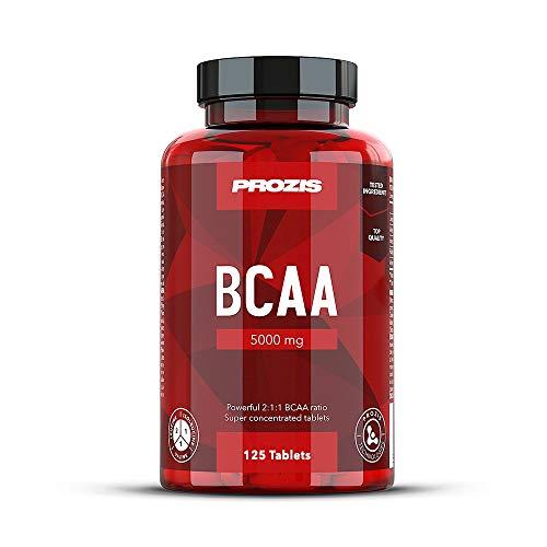 Prozis BCAA 5000 125 Cáps - Leucina 2:1:1, Isoleucina, Valina - Complemento para Promover...