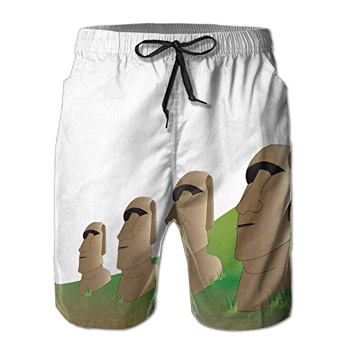 Azfaiop Easter Island Moai Statues Men's Summer Beach Quick-Dry Surf Swim Trunks Boardshorts Cargo Pants M - Island Statue