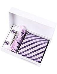 Coffret Cadeau New-York - Cravate mauve clair à rayures violettes et noires, boutons de manchette, pince à cravate, pochette de costume