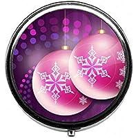 LinJxLee Christmas Ball Round Pill Case Pill Box Tablet Vitamin Organizer Easy to Carry preisvergleich bei billige-tabletten.eu