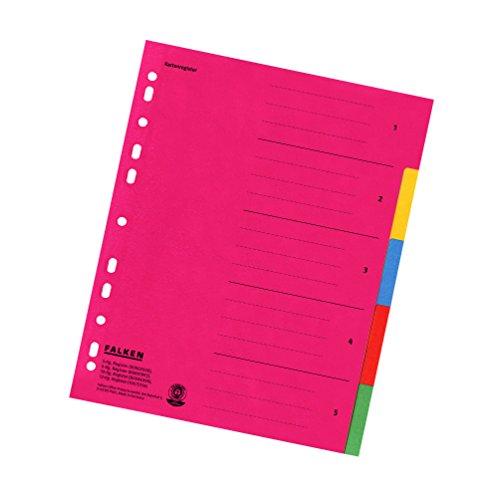 Falken Karton-Register für DIN A4 24 x 29,7 cm volle Höhe mit Organisationsdruck 5-teilig vollfarbig rot gelb blau orange grün Ringbuch Ordner Ring-mappe Ringbuch Hefter überbreit Blauer Engel für die ideale Ablage von Prospekthüllen