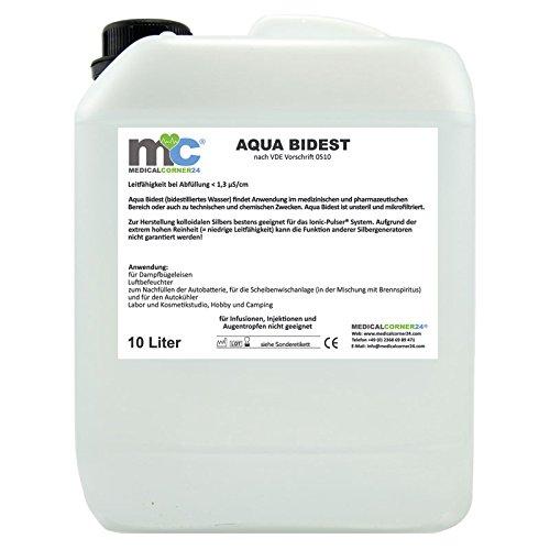 Aqua Bidest 10 Liter Kanister, Laborwasser, Reinst-Wasser, Labor Wasser, 2-fach destilliertes Wasser, durch Osmose entmineralisiert
