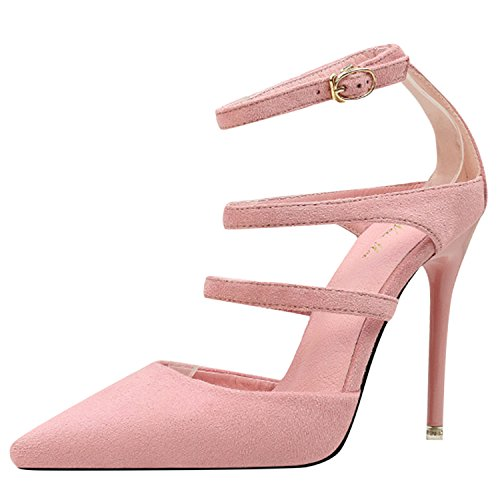 Oasap Women's Pointed Toe Hollow out Stiletto Heels Pumps Pink