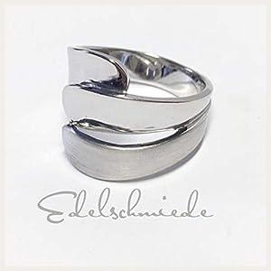 breiter Silberring 925/- Sterling Silber rhod. matt/poliert # 62
