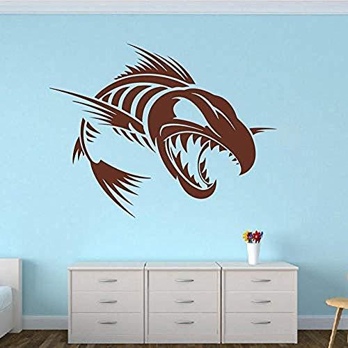 Wandaufkleber Wandaufkleber Große Fisch Skelett Schädel Wand Aufkleber Küche Washroom Cartoon Undersea Seefisch Tierwand Abziehbild Auto Schlafzimmer Vinyldekor 73X56Cm Größe kann angepasst werden -