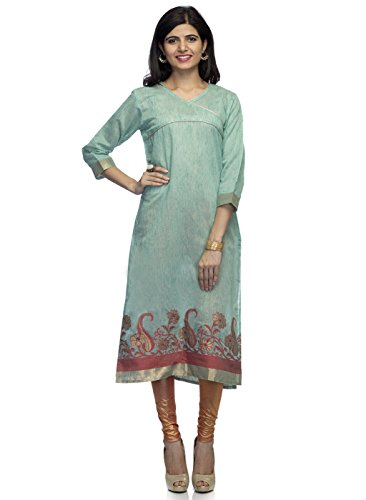 Indietoga Party wear designer green chanderi Silk long kurti For Women  available at amazon for Rs.544