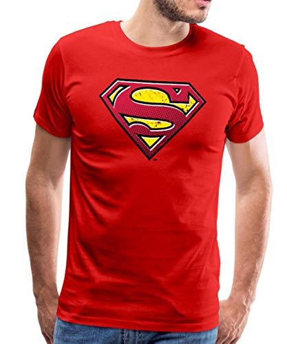 Spreadshirt DC Comics Superman Logo Used Look Männer Premium T-Shirt, M, Rot (Mann Of Steel Superman Kostüm T Shirt)