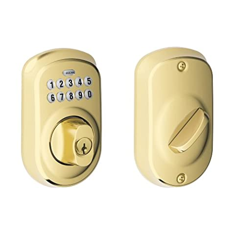 Schlage BE365VPLY505 Plymouth Keypad Deadbolt, Bright Brass by Schlage Lock