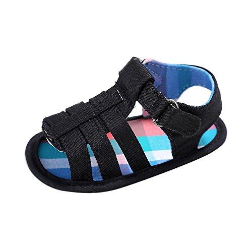 FNKDOR Baby Schuhe Jungen Mädchen Lauflernschuhe Krabbelschuhe, 0-18 Monate (12-18 Monate, Schwarz) (Mädchen Größe 1 Cowboy Stiefel)