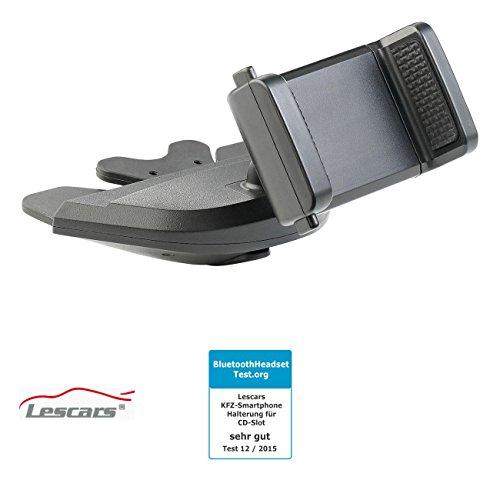 Lescars Handyhalter CD Schacht: Kfz-Smartphone-Halterung für CD-Laufwerk, mit Kugelgelenk, 60-90 mm (Navi Halterung CD Schlitz)