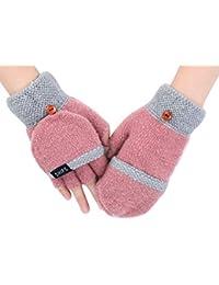 140f6834a7c9 IBLUELOVER Gants Femmes Hiver Moufles Convertibles en Mitaines Gants en  Tricote Doigts Gants Mitaines Chauds Gloves pour Ski Moto Vélo…