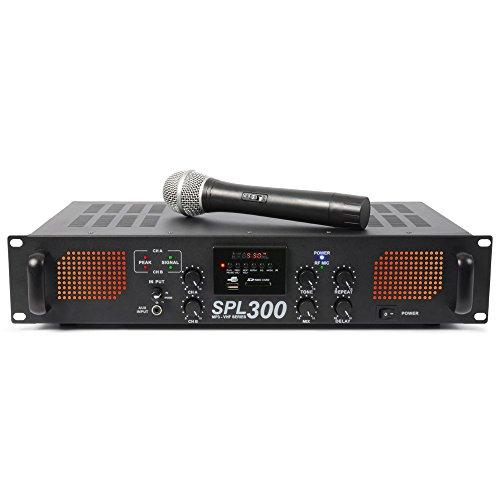 Skytec SPL 300VHFMP3 2.0 Home Audio-Verstärker mit Kabel, Weiß-Audio-Verstärker (2.0Kanäle, 0,5%, 95dB, 150W, 82dB, 775mV)
