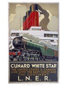Retro Travel Prints: British Railways - Cunard White Star - 35.6x27.9cm -
