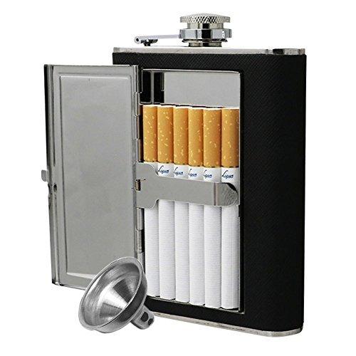 Jujor Edelstahl-Flachmann mit integriertem Zigarettenetui und Trichter, edelstahl, schwarz, 6 oz