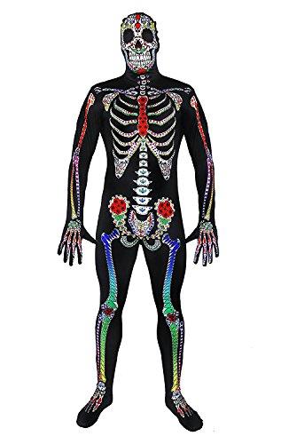 Skinsuit GANZKÖRPERANZUG KOSTÜM VERKLEIDUNG Variation =IN 6 Verschiedenen VARIATIONEN = Halloween +Fasching Party= ERHALTBAR IN 5 Verschiedenen GRÖßEN= Sugar Skull-XLarge
