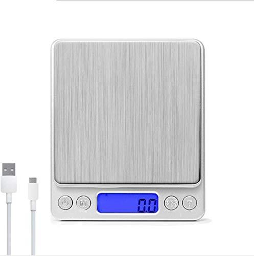 CTEJ Digital Küchenwaage mit USB Aufladen Digitalwaage 0.1g/3kg Electronische Feinwaage PSC/Tara-Funktion/LCD Display 6 Einheiten Konvertierung Briefwaage Taschenwaage