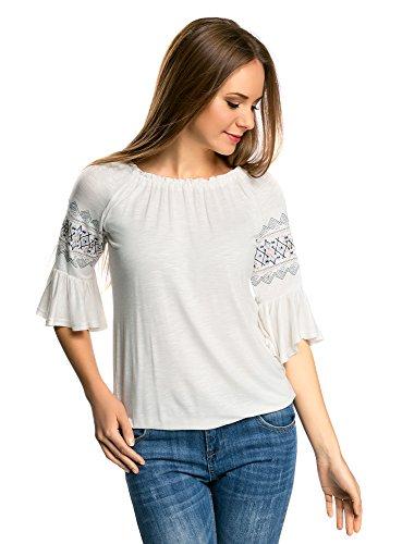 Jersey Raglan-Ärmel (oodji Ultra Damen Jersey-Bluse mit Bestickten Ärmeln, Weiß, DE 42 / EU 44 / XL)