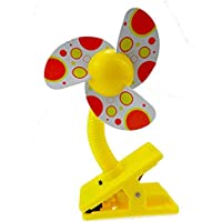 Tragbarer Kinderwagen-Ventilator für Babys, Mini Sicherheitsclip am Kinderwagen (gelb)