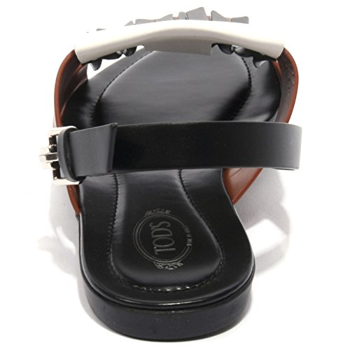 B1676 sandalo donna TOD'S scarpa frangia origami shoe woman nero/marrone/bianco