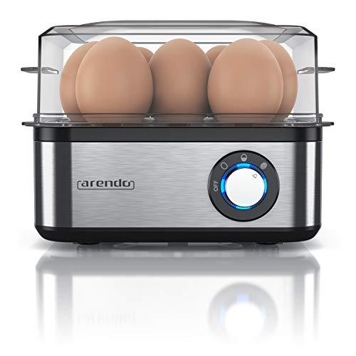Arendo - Eierkocher Edelstahl für 1 bis 8 Eier - Egg Cooker - 500 W - Kontroll Leuchte - Drehregler für drei Härtegrade - spülmaschinengeeignet - Edelstahl gebürstet