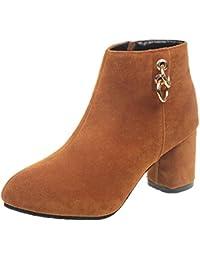 ZARLLE Mujer Botas De Chelsea Botines Invierno OtoñO Moda Zapatos De Mujer Botines Cortos Botas Falsas Para Mujer Botines Tacones Altos Mujer MartíN Botas Moda Hebilla Del CinturóN Casual Zapatos