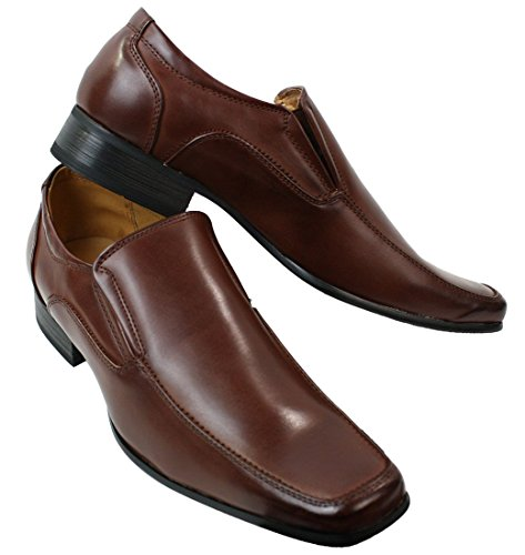 Hommes Slip On Chaussures intelligente formelle cuir brun doublé Round Square large Toe Brun