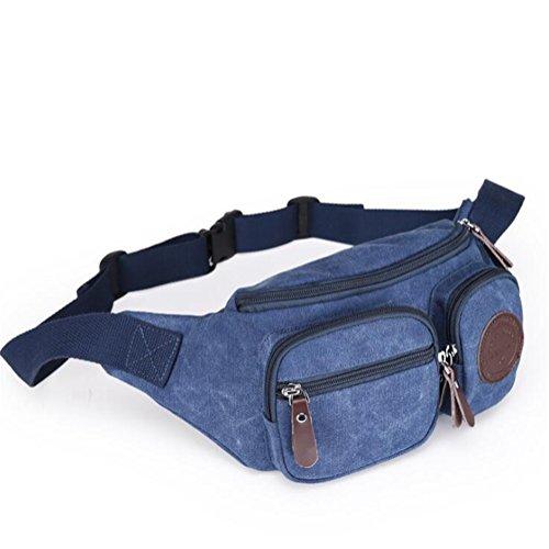Wmshpeds Multi-tasche funzionali uomini casuale tela borsa a tracolla alla moda sacca toracica femmina telefono esterno delle tasche B