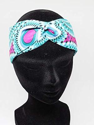 Twisted headband hairband bandeau en wax bleu blanc rose