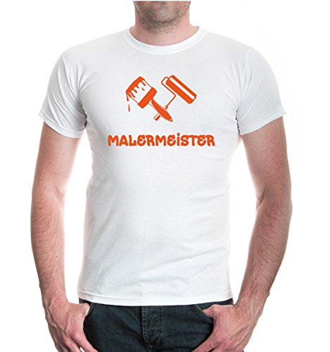 buXsbaum® T-Shirt Malermeister White-Orange