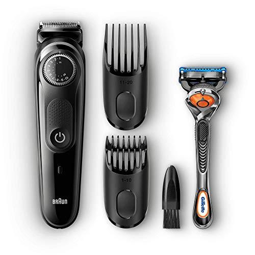 Braun Barttrimmer und Haarschneider BT5042, 39 Längeneinstellungen, AutoSense-Technologie, mit Gillette Rasierer, schwarz/grau