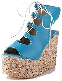 AllhqFashion Mujeres Cuero Sólido Velcro Peep Plataforma Sandalia
